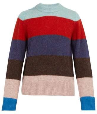 Acne Studios Kai Striped Crew Neck Wool Sweater - Mens - Blue