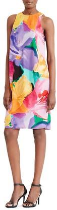 Lauren Ralph Lauren Asymmetric Overlay Watercolor Floral Shift Dress $155 thestylecure.com