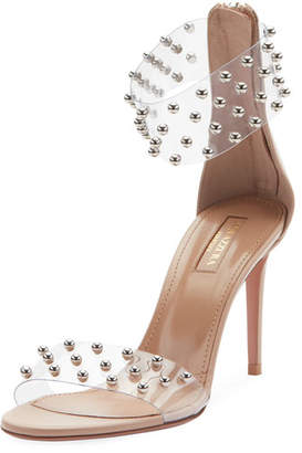 Aquazzura Illusion Mid-Heel Clear Ankle-Wrap Sandal