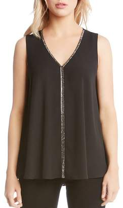 Karen Kane Sleeveless Beaded-Trim Swing Top