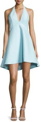 Halston Sleeveless V-Neck A-line High-Low Cocktail Dress