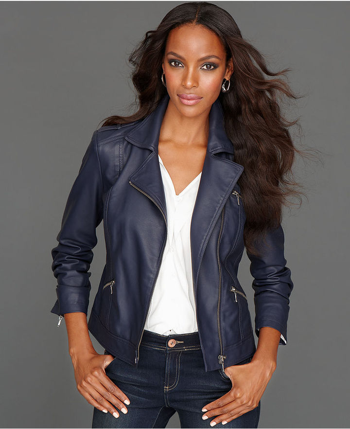 INC International Concepts Petite Jacket, Faux-Leather Motorcycle