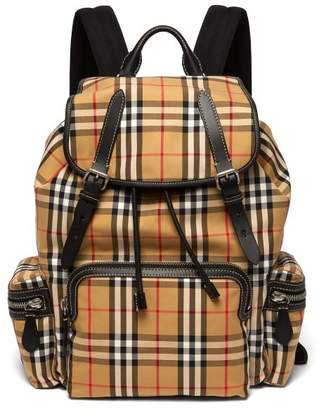 Burberry - Vintage Check Cotton Blend Backpack - Mens - Yellow