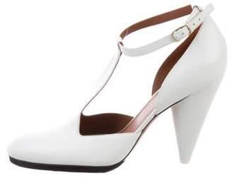 Celine Leather T-Strap Pumps White Leather T-Strap Pumps
