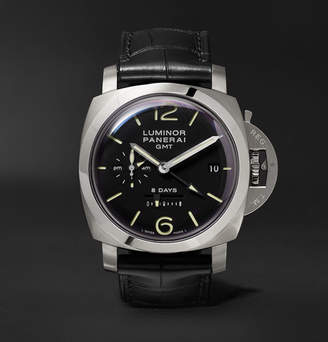Panerai Officine Luminor 1950 8 Days Gmt Acciaio 44mm Stainless Steel And Alligator Watch