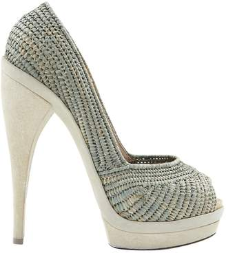 Donna Karan Green Cloth Heels