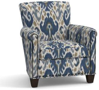 Pottery Barn Irving Upholstered Armchair - Print and Pattern with Nailheads