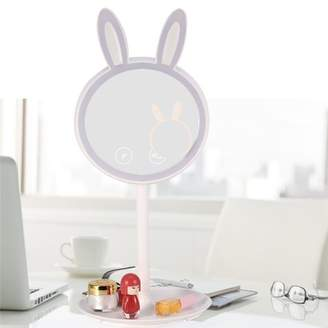 EECOO Rotatable Cosmetic Mirror, LED 7X Magnifying Glass Table Desk Mirror, Cute Rabbit Vanity Mirror, Smart Touch Screen Panel Brightness Adjustable USB Double-sided Lighted Mirror, Base Detachable