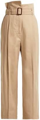 Max Mara Paperbag-waist wide-leg cotton trousers
