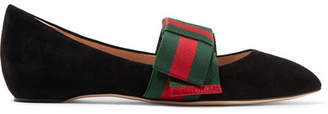 Gucci Bow-embellished Suede Point-toe Flats