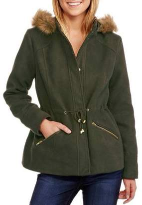 Maxwell Studio Women's Faux Wool Hooded Coat with Fur-Trimmed Hood