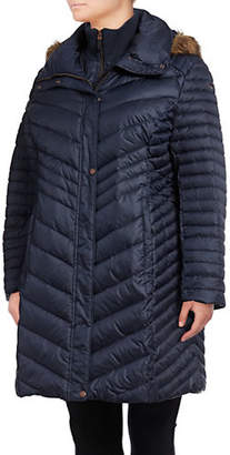 Andrew Marc Plus Karla Chevron Quilted Down Coat