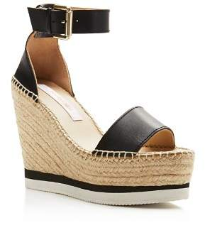 See by Chloe Glyn Leather Espadrille Platform Wedge Ankle Strap Sandals