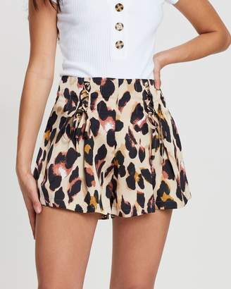 Missguided Leopard Lace Up Shorts