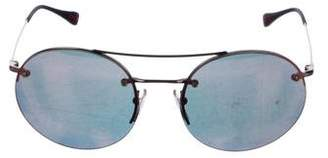 Prada Sport Mirrored Round Sunglasses