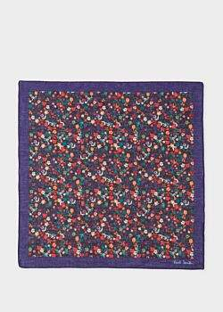 Paul Smith Men's Dark Violet And Multi-Coloured Floral Print Pocket Square
