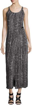 Halston Sleeveless Faux-Wrap Day Dress, Black