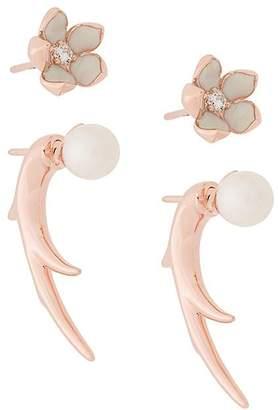 Shaun Leane Cherry Blossom Pearl and Diamond Flower Talon Earrings