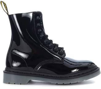 Dr. Martens Anfibio Black Patent Leather Ankle Boots With 8 Eyelets And Studs
