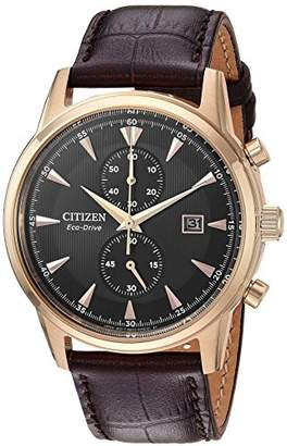 Citizen Men's 'Eco-Drive' Quartz Stainless Steel and Leather Dress Watch