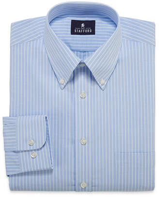STAFFORD Stafford Travel Wrinkle-Free Oxford Long-Sleeve Dress Shirt
