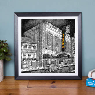 Low Moon Over High Town Personalised Art Deco Inspired Cinema Print
