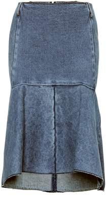 Balenciaga High-rise denim godet skirt