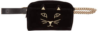 Charlotte Olympia Black Velvet Purrefect Belt Bag