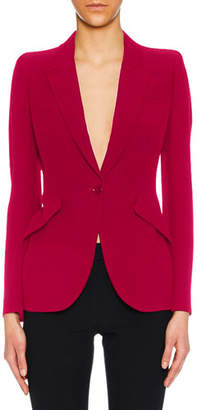 Alexander McQueen Peak-Lapel One-Button Leaf Crepe Blazer