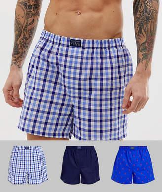 Polo Ralph Lauren 3 pack woven boxer shorts in blue check / navy / navy polo logo