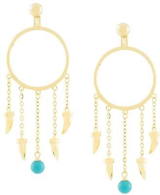 Eshvi fang pearl charm drop earrings