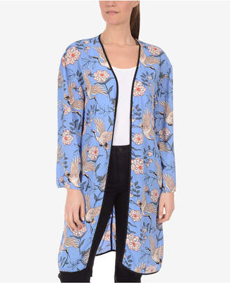 NY Collection Open-Front Printed Kimono Cardigan