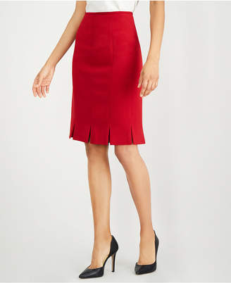 Kasper Pleated Stretch Crepe Skirt
