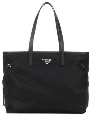 Prada Leather-trimmed fabric tote