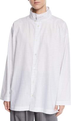 eskandar Slim A-Line Brushstroke Plaid Two-Collar Top