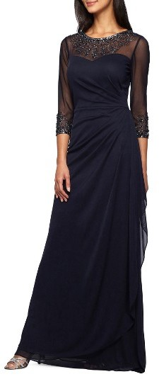 Alex Evenings Women's Alex Evenings Embellished A-Line Gown