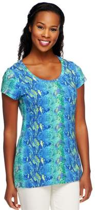Isaac Mizrahi Live! Colorful Snake Print Knit T-Shirt