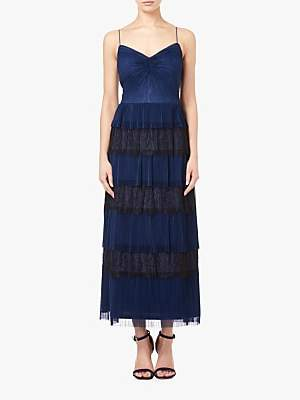 Crinkle Lace Tiered Dress, Midnight Blue