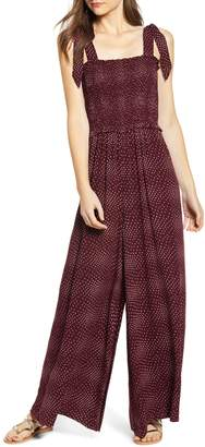 BP Polka Dot Smocked Wide Leg Jumpsuit