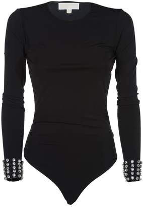 MICHAEL Michael Kors Embellished Cuffs Bodysuit