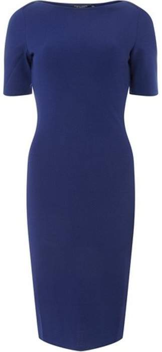 Womens Cobalt Blue Slash Neck Textured Bodycon Dress
