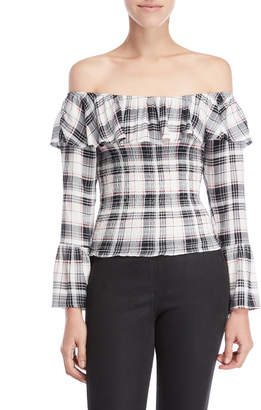 Almost Famous Plaid Off-the-Shoulder Smocked Top