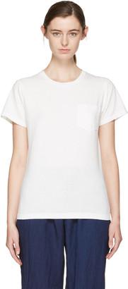Blue Blue Japan White Crewneck Pocket T-Shirt $100 thestylecure.com