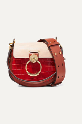Chloé Tess Small Croc-effect And Lizard-effect Leather Shoulder Bag - Red
