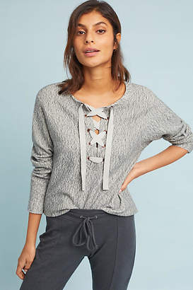 Lilla P Marled Lace-Up Pullover