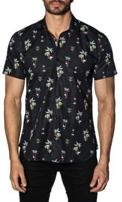 Jared Lang Flamingo Cotton Button-Down Shirt