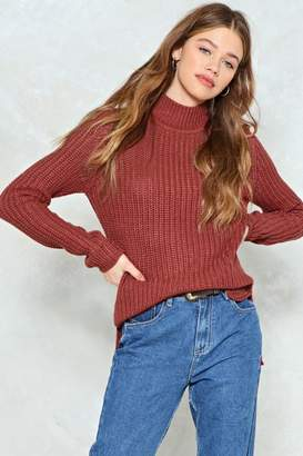 Nasty Gal Take Knit On the Chin Ribbed Sweater