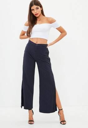 Missguided Navy Pinstripe Popper Side Wide Leg Trousers, Blue