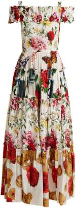 Dolce & Gabbana Contrasting-print tiered panel dress