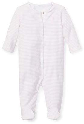 Ralph Lauren Striped Picot-Trim Footie Pajamas, Size 3-9 Months